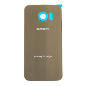 Back Glass with Adhesive for Galaxy S6 Edge (Prime - OEM) - Gold Platinum