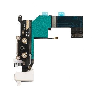 Charging Port & Headphone Jack Flex Cable for iPhone 5S - White