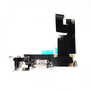 """Charging Port & Headphone Jack Flex Cable for iPhone 6 Plus (5.5"""") - White"""