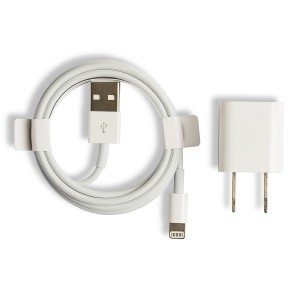 USB Wall Plug (OEM) and MFI Lightning Cable for iPhone (OEM) - White