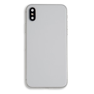 Back Housing (w/ Back Glass, Power and Volume Flex, Wireless Charging Chip and Flex, Buttons and Rear Camera Lens) for iPhone X (Generic) - Silver