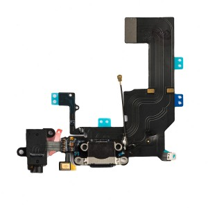 Charging Port & Headphone Jack Flex Cable for iPhone 5C - Black