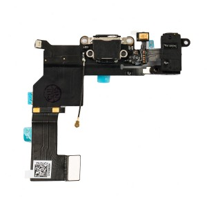 Charging Port & Headphone Jack Flex Cable for iPhone 5S - Black