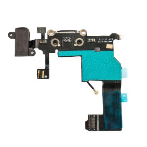 Charging Port & Headphone Jack Flex Cable for iPhone 5 - Black
