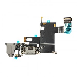 "Charging Port & Headphone Jack Flex Cable for iPhone 6 (4.7"") - Dark Grey"