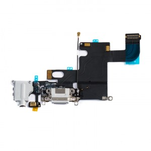 "Charging Port & Headphone Jack Flex Cable for iPhone 6 (4.7"") - Light Grey"