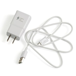 Fast Charging Wall Brick with Micro USB for Samsung Models - White