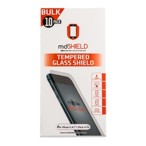 "Pack of 10 Tempered Glass Shield (0.33mm) for iPhone 6 (4.7"") (Bulk MD Packaging)"