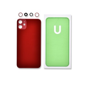 Back Glass and Rear Camera Lens Set for iPhone 11 (Generic) - Red