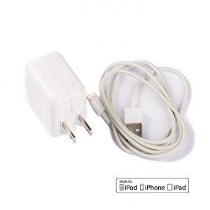 USB Power Adapter (12W) and 3' MFI Lightning Cable (OEM) - White